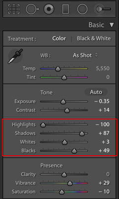 adjustments for hdr in lightroom