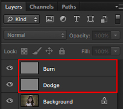 dodge and burn layers in photoshop