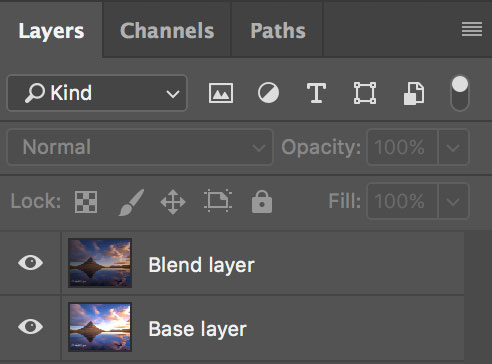 base layer and blend layer in photoshop