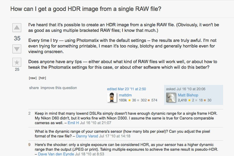 single raw hdr