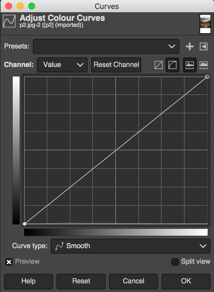 gimp curves in photo editing